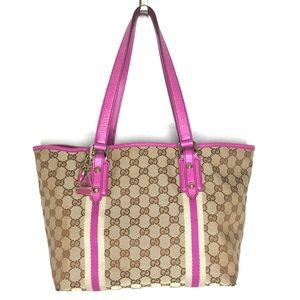 Authentic Gucci brown & pink canvas tote bag